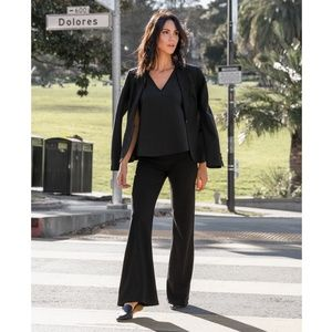 Betabrand Black Dress Pant Wide-Leg Yoga Pants - S